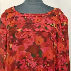 Loft Red Floral Print Career Pleated Top Size  XL